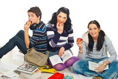 Happy healthy students with apples Stock Image