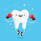 Happy healthy tooth in red boxing gloves Stock Images