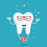 Happy healthy tooth in red glasses Royalty Free Stock Images