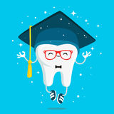 Happy healthy wisdom tooth in the cap of the graduate. In red glasses and blue sneakers. Vector illustration on a blue background. Concept of children's Stock Images