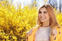 Happy healthy woman enjoying springtime. Allergy free concept royalty free stock images