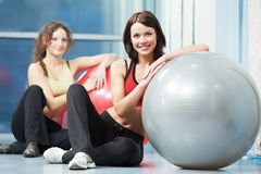 Happy healthy woman with fitness ball Royalty Free Stock Photos