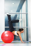 Happy healthy woman with fitness ball Royalty Free Stock Images