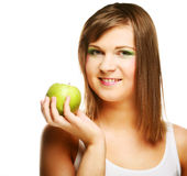 Happy healthy woman holding apple Stock Photo