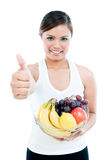 Happy Healthy Woman Holding Basket Of Fruits Stock Image