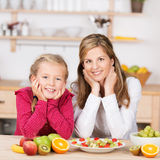 Happy healthy young girl with her mother Stock Photo