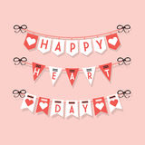 Happy Heart Day hanging buntings and festive decoration icons set on light pink background Stock Image