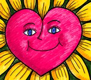 Happy Heart Flower Sunflower. One cheerful and happy red heart yellow flower sunflower as a symbol of love and happiness royalty free illustration