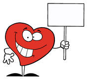 Happy Heart Holding A Blank Sign. Happy Red Heart Holding A Blank Sign royalty free illustration