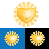 Happy Heart-Shaped Sun. A  drawing of a happy Heart-Shaped Sun Stock Images