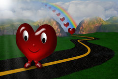 Happy Heart wih a Smiling Face. Happy heart walking on a road under a rainbow Stock Illustration