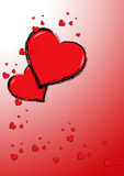 Happy hearts (Vector). Funny love card full of happy red hearts over a gradient red background Royalty Free Stock Photo