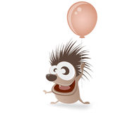 Happy hedgehog with balloon Stock Photos