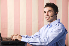 Happy helpdesk male Stock Image