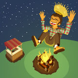 Happy hick jumping high over a bonfire Stock Photos