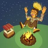 Happy hick jumping high over a bonfire Stock Photos