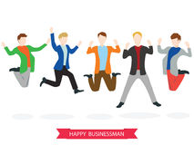 Happy high jumping businessman group. Royalty Free Stock Image
