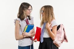 Happy high school friends are teenage girls, talk and secret. White background, in school uniform, with books and notebooks Royalty Free Stock Image