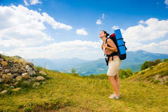 Happy hiker Royalty Free Stock Images