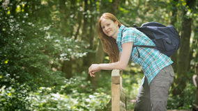 Happy Hiker with Backpack Royalty Free Stock Images