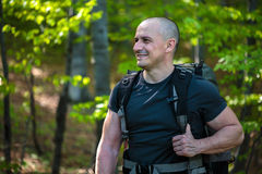 Happy hiker with backpack Royalty Free Stock Photos
