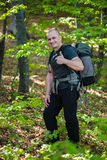 Happy hiker with backpack Stock Photography