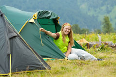 Happy  hiker in camp tent Stock Photos