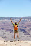 Happy hiker by Grand Canyon south rim cheering Stock Images