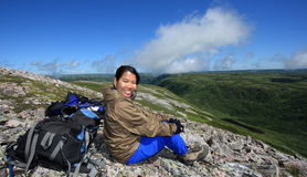 Happy Hiker on Gros Morne Mountain Stock Photo