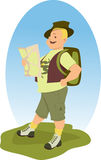 Happy hiker with a map Stock Photo