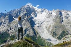 Happy hiker at mountain top Stock Photos