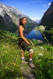 Happy Hiker in Norway Stock Photo