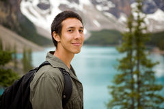 Happy Hiker Portrait. A portrait of a man outdoors on a hiking trip stock image