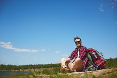 Happy hiker Royalty Free Stock Photos