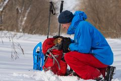 Happy hiker talking to funny small dog who sits in a his backpac. K during rest in winter forest. Hiking in the wilderness with friends Stock Image