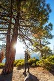 Happy hiker visit Yosemite national park in California royalty free stock photos