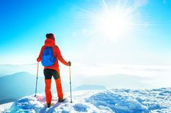 Happy hiker winning reaching life goal, success, freedom and hap Stock Images
