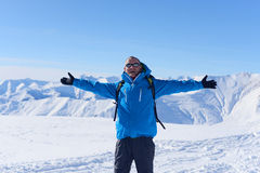 Happy hiker in winter Stock Photography