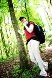 Happy Hiker in the Woods Royalty Free Stock Photos