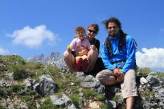 Happy hiking family on mountain top Royalty Free Stock Photos