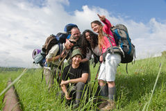 Happy hiking group. A group of hikers enjoying a sunny day stock photography