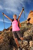 Happy hiking success stock image