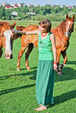 Happy Hippie Girl And Horses Royalty Free Stock Image