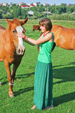Happy Hippie Girl And Horses Stock Images
