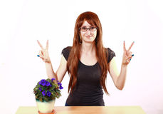 Happy Hippie Girl With Flowers Royalty Free Stock Photos