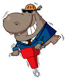 Happy hippo. Worker operating a vibrating jackhammer Royalty Free Stock Photography