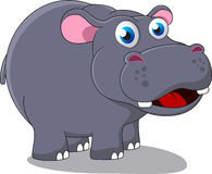 Happy Hippo. Illustration Of Happy Hippo Standing On White Stock Image