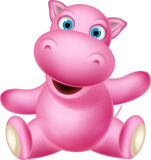Happy hippo cartoon Royalty Free Stock Image
