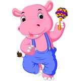 Happy hippo cartoon Stock Image
