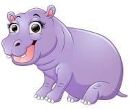 Happy hippo cartoon sitting Royalty Free Stock Photography